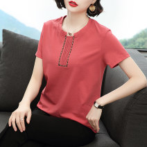 T-shirt Red blue pink M L XL XXL XXXL Summer 2021 Short sleeve Crew neck easy Regular routine commute cotton 86% (inclusive) -95% (inclusive) 40-49 years old Simplicity literature Solid color Glnz / Denise Pleated embroidery Cotton 95% polyurethane elastic fiber (spandex) 5%