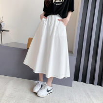 skirt Spring 2021 Average size White black Mid length dress commute High waist A-line skirt Solid color Type A 18-24 years old MC9424 More than 95% Impression of Matcha other Pocket button zipper Korean version Other 100% Pure e-commerce (online only)