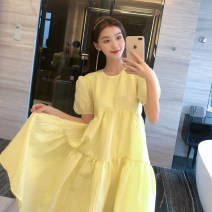 Dress Summer 2020 Yellow dress with tie back S M L Short skirt singleton  Short sleeve commute Crew neck Solid color 25-29 years old Impression of Yuanwu Korean version YW1000505 More than 95% other Other 100% Pure e-commerce (online only)