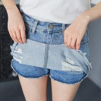 skirt Spring 2017 M L XL 2XL S Denim blue Short skirt Versatile High waist A-line skirt Type A 18-24 years old jiaoran-652-hlong 71% (inclusive) - 80% (inclusive) Denim Jiaoran cotton Old button zipper with holes Pure e-commerce (online only)