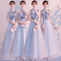 Dress / evening wear Weddings, adulthood parties, company annual meetings, daily appointments S M L XL XXL customized no return fashion longuette middle-waisted Winter of 2019 Fall to the ground stand collar Bandage 18-25 years old QYZP0560 Short sleeve Embroidery Solid color Qiyi Zhenpin routine