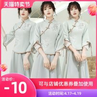 Dress / evening wear Weddings, adulthood parties, company annual meetings, daily appointments S M L XL XXL customized no return Retro Medium length middle-waisted Summer 2020 Self cultivation stand collar zipper 18-25 years old elbow sleeve Embroidery Solid color Qiyi Zhenpin routine Other 100% other