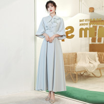 Dress / evening wear Weddings, adulthood parties, company annual meetings, daily appointments S ml XL XXL custom contact customer service C small stand collar long 3303 + belt Korean version longuette middle-waisted Spring 2021 Fall to the ground stand collar zipper 18-25 years old QYZP0680 routine