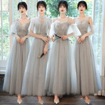 Dress / evening wear Weddings, adulthood parties, company annual meetings, daily appointments S M L XL XXL customized no return A grey off shoulder round neck long 3108 B grey pleated vertical collar long 3106 C grey sling V-Neck long 3105 D grey sling heart-shaped collar long 3107 Korean version