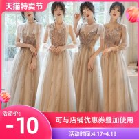 Dress / evening wear Weddings, adulthood parties, company annual meetings, daily appointments S M L XL XXL customized no return Korean version longuette middle-waisted Spring 2020 Fall to the ground U-neck Bandage 18-25 years old QYZP0590 Short sleeve Nail bead Solid color Qiyi Zhenpin routine other