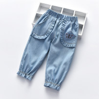 trousers Other / other female 90cm,100cm,110cm,120cm,130cm summer Ninth pants Korean version No model Jeans Leather belt middle-waisted cotton Don't open the crotch Cotton 95% other 5% Class A 12 months, 18 months, 2 years old, 3 years old, 4 years old, 5 years old, 6 years old