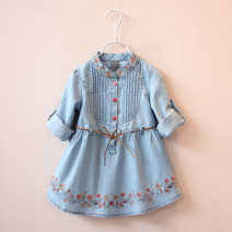 Dress Denim blue female Other / other Other 100% spring and autumn other Long sleeves other cotton Denim skirt qz3286 Class A 2, 3, 4, 5, 6, 7, 8, 9, 10, 11, 12, 13, 14 years old Chinese Mainland