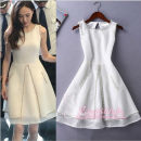 Dress Summer 2021 white XS,S,M,L,XL,2XL Middle-skirt singleton  Sleeveless commute Crew neck High waist Solid color zipper A-line skirt routine straps Type A court More than 95% other polyester fiber