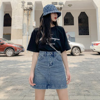 skirt Summer 2020 2XL S M L XL blue Short skirt Versatile High waist A-line skirt Solid color Type A 18-24 years old MC90999 More than 95% Denim Milcerr / Charm cotton pocket Cotton 98% polyester 2%