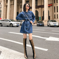 Dress Autumn of 2019 blue XL S M L Short skirt singleton  Long sleeves commute Polo collar High waist Solid color Single breasted shirt sleeve 25-29 years old Type A Milcerr / Charm pocket More than 95% Denim cotton Cotton 95% other 5%
