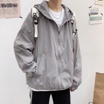 Jacket E.MEISA Youth fashion White gray black orange cyan blue purple white # black # orange # blue # purple # gray # cyan# M L XL 2XL routine easy Other leisure spring E20N50184 Cotton 85% polyester 15% Long sleeves Wear out Hood tide teenagers routine Zipper placket Rubber band hem Closing sleeve