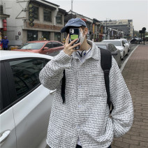 Jacket E.MEISA Youth fashion Grey black M L XL 2XL routine easy Other leisure spring E20N600893 Cotton 85% polyester 15% Long sleeves Wear out Lapel tide teenagers routine Zipper placket Cloth hem No iron treatment Closing sleeve other Spring 2021 Rib bottom pendulum Side seam pocket cotton