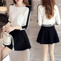 Dress Fall 2017 S,M,L,XL Short skirt Two piece set Long sleeves commute Crew neck High waist Solid color Socket A-line skirt routine Others 25-29 years old Type A Other / other Korean version Splicing, resin fixation 31% (inclusive) - 50% (inclusive) other nylon