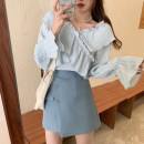 Dress Summer 2021 Blue two piece set, black and white two piece set S,M,L Short skirt Two piece set Long sleeves commute V-neck High waist Solid color Socket A-line skirt routine Others Type A Sandro asw lady More than 95%