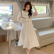 Dress Summer 2021 White, black S,M,L Mid length dress singleton  Short sleeve commute Admiral middle-waisted Dot Socket A-line skirt puff sleeve Others Type A Sandro asw lady Three dimensional decoration, belt 91% (inclusive) - 95% (inclusive)