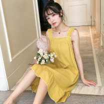 Nightdress Marporna M L XL Sweet camisole pajamas Middle-skirt summer Solid color youth cotton lace More than 95% 200g and below Summer of 2019 Cotton 100% Pure e-commerce (online only)