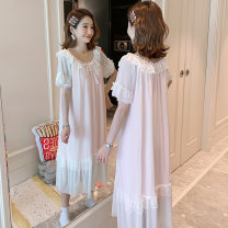 Nightdress Marporna Mbn-8820 ᦇ pink mbn-8820 ᦇ white mbn-8809 ᦇ pink mbn-8809 ᦇ white mbn-8810 ᦇ pink mbn-8810 ᦇ white mbn-8818 ᦇ pink mbn-8818 ᦇ white S M L XL Sweet Short sleeve pajamas longuette summer Solid color youth One word collar cotton lace More than 95% MBN-8820# 200g and below Cotton 100%