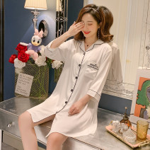 Nightdress Marporna Dpn-9962 # white dpn-9962 # blue dpn-9962 # silver grey M L XL XXL Sweet three quarter sleeve pajamas Middle-skirt spring Solid color youth Small lapel Polyester (polyester) Button decoration More than 95% Imitation silk Dpn-9962 × white Spring 2020 Polyester 100%