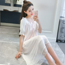 Nightdress Marporna S M L XL Sweet Short sleeve pajamas longuette summer Solid color youth Crew neck cotton lace More than 95% 200g and below Summer of 2019 Cotton 95% polyester 5% Pure e-commerce (online only)