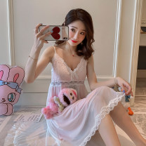 Nightdress Marporna Am-8825 # pink am-8825 # white S M L XL sexy camisole pajamas Middle-skirt summer Solid color youth V-neck cotton Hollowing out More than 95% Net cotton Am-8825 × Pink Summer 2020 Cotton 100% Pure e-commerce (online only)