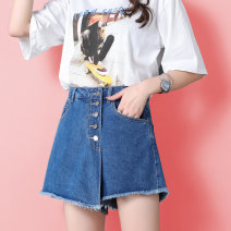 skirt Summer 2020 26/S 27/M 28/L 29/XL 30/2XL 31/3XL 32/4XL White, medium blue, black, free admission, free freight insurance [please consult customer service for details] Short skirt Versatile High waist A-line skirt Solid color Type A 18-24 years old 21214* More than 95% Denim cotton Cotton 100%