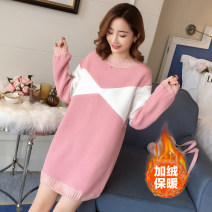 Home top A litter of bears Pink M,L,XL,XXL Long sleeves Crew neck thickening Princess lace winter Solid color acrylic fibres other Socket Add cashmere and thicken to keep warm