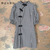 Dress Summer 2021 Black and white check XS,S,M,L,XL Short skirt singleton  Short sleeve commute other middle-waisted lattice A-line skirt puff sleeve 18-24 years old Type A EEonly love Retro 81% (inclusive) - 90% (inclusive) other polyester fiber