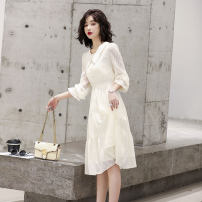 Women's large Spring 2021 Off white light purple S M L XL Dress singleton  commute Socket Long sleeves Solid color Korean version polyester fiber routine OBL2133038 Ou Beiling 30-34 years old longuette Polyester 100% Pure e-commerce (online only)