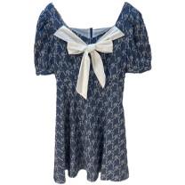 Dress Summer 2021 Blue pattern S,M,L,XL longuette Short sleeve commute Socket Peacebird Buttons, bows, lace A5FAB2121 31% (inclusive) - 50% (inclusive) cotton