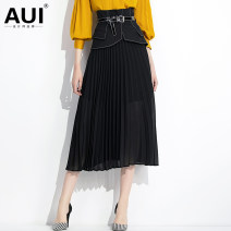 skirt Summer of 2019 S M L XL black Mid length dress street High waist Pleated skirt Solid color Type A 30-34 years old 91% (inclusive) - 95% (inclusive) Chiffon AUI polyester fiber Polyester 92.9% polyurethane elastic fiber (spandex) 7.1% Pure e-commerce (online only) Europe and America