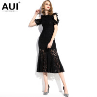 Dress Spring of 2019 White black [S / M / L pre-sale 20 days] S M L XL Mid length dress singleton  Short sleeve street Crew neck middle-waisted Solid color zipper other Petal sleeve 30-34 years old AUI Cut out lace with ruffle 19C013869 31% (inclusive) - 50% (inclusive) cotton Europe and America