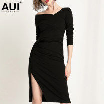 Dress Autumn of 2019 black S M L XL Mid length dress singleton  Long sleeves street Slant collar middle-waisted Solid color zipper Irregular skirt routine Oblique shoulder 30-34 years old Type H AUI Pleated asymmetric zipper 51% (inclusive) - 70% (inclusive) other nylon Pure e-commerce (online only)