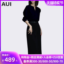 Dress Autumn of 2018 black S M L XL longuette singleton  Long sleeves street Crew neck middle-waisted Solid color Socket One pace skirt routine Others 40-49 years old Type H AUI Lace up zipper AUI18Q3001 More than 95% other polyester fiber Polyester 100% Pure e-commerce (online only)