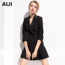 suit Spring of 2019 Black Pink S M L XL XXL XXXL XS Long sleeves Medium length Self cultivation tailored collar double-breasted street routine Solid color 19C043729 30-34 years old 91% (inclusive) - 95% (inclusive) polyester fiber AUI Pleated button Pure e-commerce (online only)