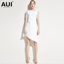 Dress Spring of 2019 White [small amount of stock] black [small amount of stock] S M L XL Middle-skirt Short sleeve street Crew neck High waist Solid color zipper Irregular skirt other 30-34 years old Type A AUI Stitching three dimensional decorative asymmetric gauze 19C013919 polyester fiber