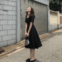 Dress Summer 2021 black S,M,L,XL,2XL Mid length dress singleton  Short sleeve commute square neck middle-waisted Solid color Socket A-line skirt routine Others 18-24 years old Type A Korean version 31% (inclusive) - 50% (inclusive) Chiffon cotton