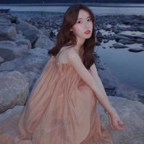 Dress Summer 2021 Picture color S,M,L,XL longuette singleton  Sleeveless commute One word collar Loose waist Solid color Socket A-line skirt other camisole 18-24 years old Type A Other / other Korean version Chiffon polyester fiber
