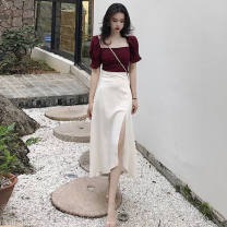 Dress Summer 2021 suit S,M,L,XL,2XL Mid length dress Two piece set Short sleeve commute One word collar High waist Solid color zipper One pace skirt puff sleeve Others 18-24 years old Type A lady 31% (inclusive) - 50% (inclusive) Chiffon cotton