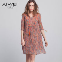 Dress Spring 2017 S M L XL XXL XS Middle-skirt singleton  elbow sleeve commute V-neck Loose waist Socket A-line skirt routine Others 30-34 years old Type H B love for Retro More than 95% Chiffon silk Mulberry silk 100%