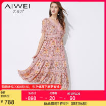 Dress Summer 2021 Pink S M L XL 2XL longuette singleton  Short sleeve commute V-neck High waist Decor Socket A-line skirt Petal sleeve 30-34 years old Type A B love for lady Auricularia auricula stitching zipper lace printing More than 95% silk Mulberry silk 100%