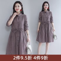 Dress Spring 2021 Red check black check M L XL XXL Mid length dress singleton  Long sleeves commute Polo collar middle-waisted lattice Single breasted other routine Others 25-29 years old Type X Cuooyino / Chu Ying Korean version Lace up stitching button CY8200 More than 95% cotton Cotton 100%