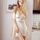 Pajamas / housewear set female Honey wish S,M,L,XL Black, light champagne, skin pink Polyester (polyester) pajamas routine V-neck Solid color youth 2 pieces More than 95% silk lace C-6606X