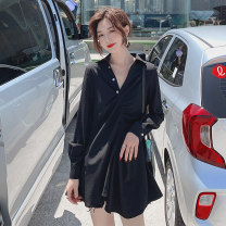 Dress Autumn of 2019 Black, small gift for collection and purchase S,M,L Short skirt singleton  Long sleeves commute V-neck High waist Solid color Three buttons Irregular skirt routine Others 18-24 years old Type A Other / other Korean version Pleating 31% (inclusive) - 50% (inclusive) other other