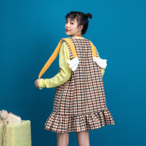 Dress Autumn 2020 Check pattern S M L Middle-skirt singleton  Sleeveless commute Crew neck High waist lattice Socket A-line skirt other straps 25-29 years old Type A ZFIOD Korean version Three dimensional decorative wave 3D printing with pleated auricular pocket stitching Z-20C98048 More than 95%