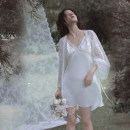 """Nightgown / bathrobe Simply Seven female S M L XL White two piece set (spot) pre sale """"15 days delivery"""" Thin money sexy Polyester (polyester) summer Short (Mid Thigh to knee) Lace fabric Solid color youth FW18191187 Hollowing out Summer 2020 New polyester fiber 100% Pure e-commerce (online only)"""
