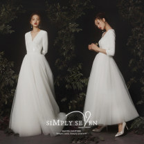 Wedding dress Autumn of 2019 Dress with decoration, dress without decoration, one piece short skirt, one piece floor length skirt, one piece short skirt, one piece floor length skirt, one piece short skirt, one piece dress, one piece floor length skirt S M L XL Simplicity A-line skirt zipper Sequins