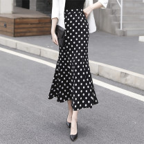 skirt Summer 2021 S,M,L,XL,2XL black longuette commute High waist skirt Dot Type X 30-34 years old ALS -- one thousand and forty-five 91% (inclusive) - 95% (inclusive) other polyester fiber Ruffles, waves, zippers, prints Ol style 201g / m ^ 2 (including) - 250G / m ^ 2 (including)