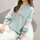 T-shirt Green pink white MLXLXXL Autumn of 2018 Nine point sleeve Crew neck easy Regular bishop sleeve commute 18-24 years old Korean version youth Letter splicing Hengmei one million two thousand and sixty Stitching mesh embroidery lace hollow Pure e-commerce (online only)