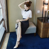 Dress Summer 2021 black and white S M L XL Mid length dress singleton  Short sleeve commute Polo collar High waist Solid color zipper Ruffle Skirt Lotus leaf sleeve Others 25-29 years old Type X Beichizel Ol style More than 95% other other Other 100% Pure e-commerce (online only)