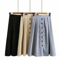 Women's large Spring 2021, summer 2021 Black, khaki, blue Large XL, 2XL, 3XL, 4XL skirt singleton  commute Straight cylinder moderate Solid color Korean version cotton SYG815 Button trousers